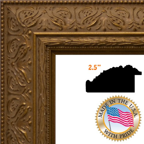 16x20 / 16 x 20 Gold Scroll / Black Antique Custom Picture Frame - Brand NEW .. 2.5'' wide