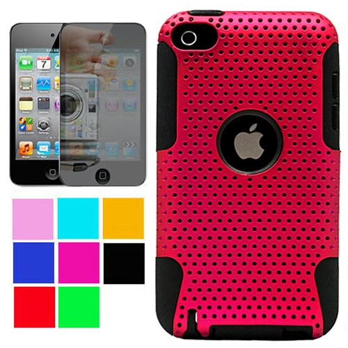 Metallic Protective Rubberized Crystal Hard Snap-on Case and Black Silicone Gel Skin for Apple iPod Touch 4th Generation, 4th Gen (8GB, 16GB, 32GB, 64GB) + INCLUDES!!! Mirror Screen Protector for Apple iPod Touch 4th Gen (Many Colors Available) , Pink