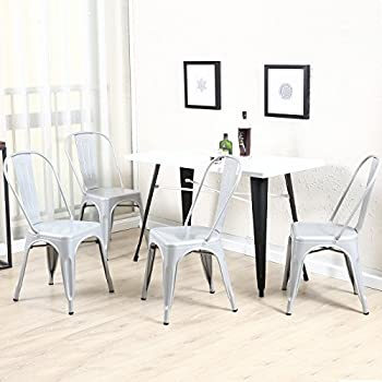 Belleze Set of (4) Vintage Style Dining Chairs Steel High Back Side (Silver)