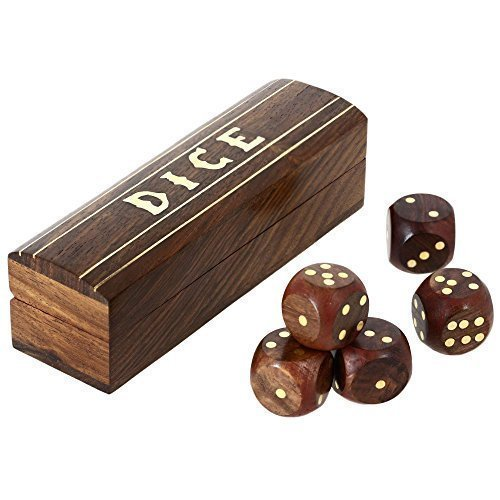 Indian Game Wooden Dice Set In A Box Brass Inlay Art 5.25 X 1.5 Inch