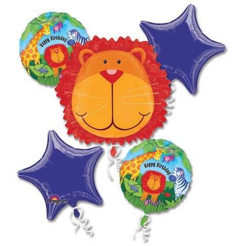 SAFARI JUNGLE LION BALLOONS HAPPY BIRTHDAY BOUQUET