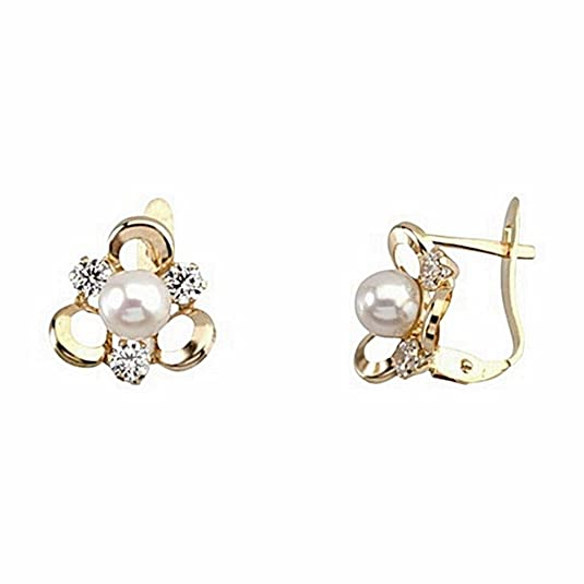 18k gold cultured pearl earrings Clover 3 zircons [6645P]