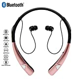 Bluetooth Headphones, HV-980 Wireless Neckband Headset Hands Free Stereo Earphones with Magnet Earbuds & Mic,Sweatproof Earbuds with Noise Canceling for ipad,iPhone,Samsung and Android (Pink)