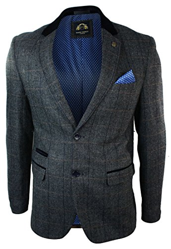 Mens-Check-Vintage-Herringbone-Tweed-Grey-Charcoal-Blazer-Jacket-Fitted