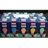 Coloured Light Bulbs ES 25w Pack of 10