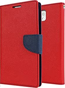 OM Synthetic Leather Mercury Flip Covers for Samsung Galaxy J7 2016-Red&Blue