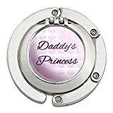 Daddys Princess With Pink Crowns Foldable Table Bag Purse Caddy Handbag Hanger Holder Hook With Folding Compact Mirror