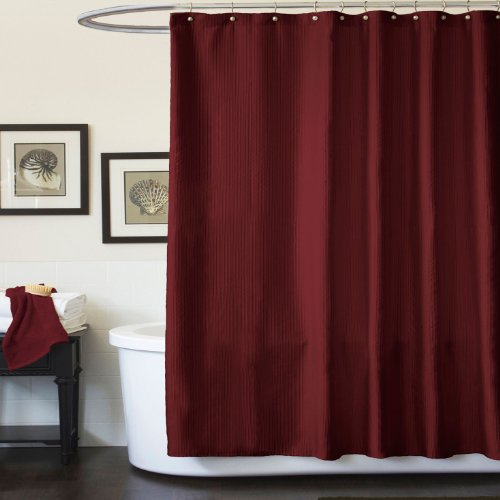 Triangle Home Fashions 16630 Lush Decor Channel Shower Curtain Red
