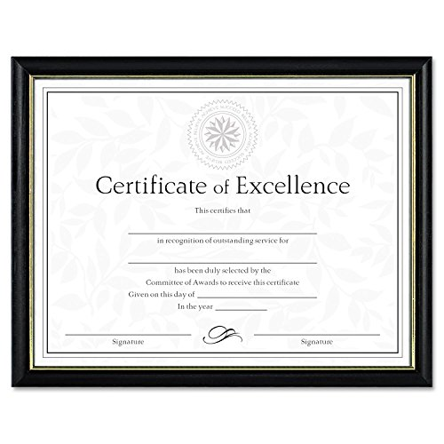 DAX Two-Tone Document/Diploma Frame, Wood, 8.5 x 11 Inches, Black with Gold Leaf Trim (N17981BT) (8 1 2 X 11 Document Frame compare prices)