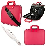 Pink SumacLife Cady Semi Hard Case w/ Shoulder Strap for Acer Aspire V3 Series 15.6-inch Ultrabook Laptops + Kallin Universal 3 Port USB Hub with Micro USB Charger Cable