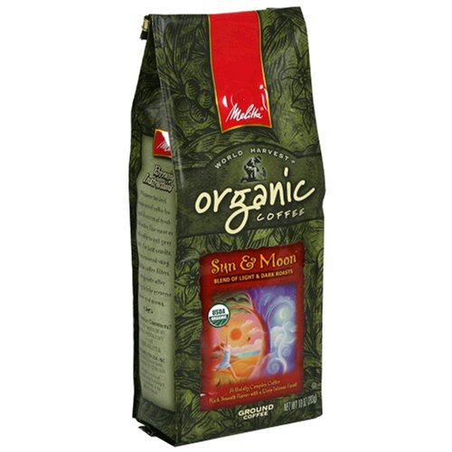 Melitta World Harvest Coffee Sun & Moon Organic Coffee, 10-Ounce Bags (Pack of 3)
