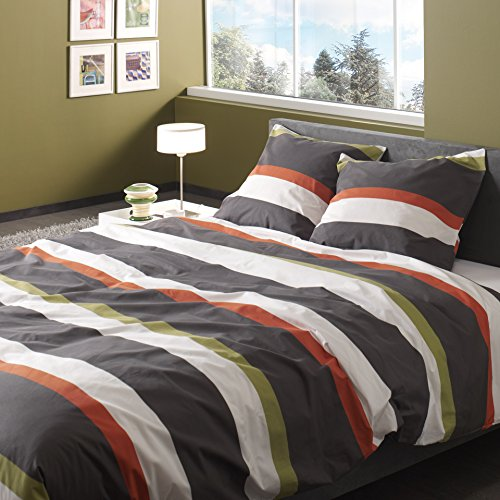comptoir du linge de couette 1 taie d oreiller 65 x 65 cm coton orange et taupe. Black Bedroom Furniture Sets. Home Design Ideas
