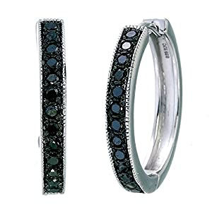 Vir Jewels Sterling Silver Black Diamond Hoop Earrings (1/2 CT)