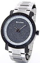 JOJINO Real Diamond Watch by Joe Rodeo Watch Mens Two Tone Black Case Silver Metal Band Black Face MJ-8021