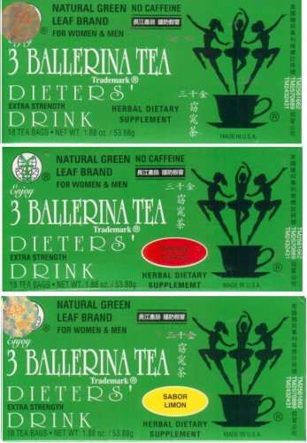 3 Ballerina Tea Extra Strength All Natural Dieters Drink Sampler Value Pack (1x Lemon, 1x Cinnamon, 1x Orange, 1x Regular Flavors) - 72 Tea Bags in 4 Boxes (7.52 Oz)