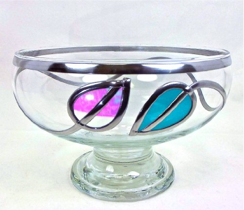 Handcrafted Rennie Mackintosh Style Decorative Glass Stem Bowl, Height 12cm, Diameter 18cm. Art Deco, Art Nouveau Inspired Leaf Design