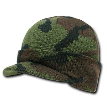 Camouflage Jeep Caps/Visor Beanies - Woodland Camo - One Size -