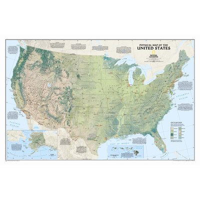 United States Physical Wall Map (Topographical World Map compare prices)