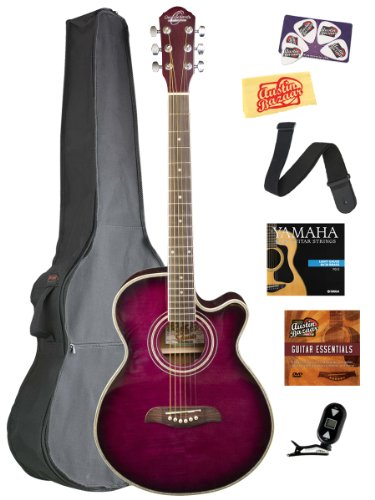 Oscar Schmidt Og10Ce Cutaway Acoustic-Electric Guitar Bundle With Gig Bag, Tuner, Strap, Strings, Picks, And Polishing Cloth - Flame Transparent Purple