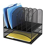 Mesh Desk Organizer, Two Horizontal/Six Upright Sections, Black