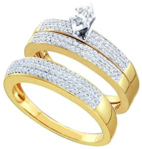 10K Yellow Gold 0.52 Ct Round Marquise Diamond Engagement Trio Bridal Set