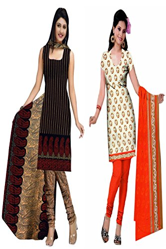 Araham soft crepe / American crepe dress material / unstitched Salwar Suit pack of 2 combo No 504