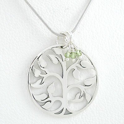 Round Cut Out Design Tree of Life Pendant in Sterling Silver with Peridot Gemstone Beads on an 18