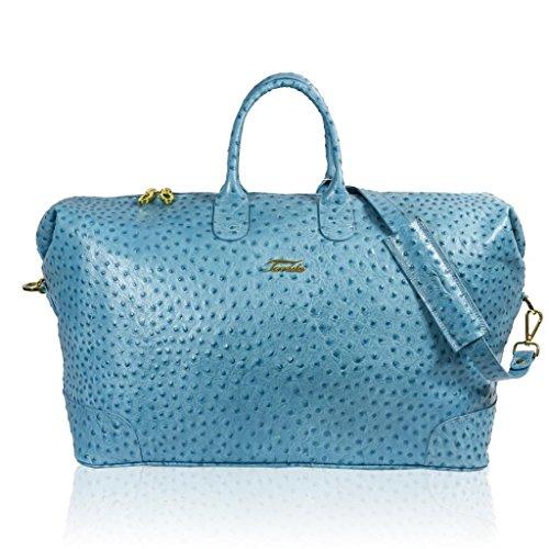 Terrida Designer Italien Classique Aquamarine Autruche Cuir Duffle Bag