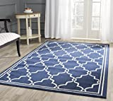 Safavieh Amherst Collection AMT414P Navy and Beige Indoor/Outdoor Area Rug, 8-Feet by 10-Feet