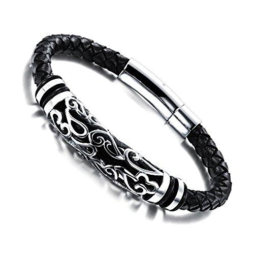 Gemsuki Stainless Steel Braided Black Leather Bracelet Ph901 (Leather Bracelet For Men Shark compare prices)