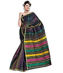 Monash Creations Black Cotton Bengal Tant Saree