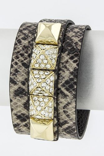 Karmas Canvas Pyramid Stud Strap Bracelet (Snakeskin/Gold) front-203064