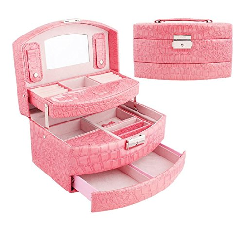Meydlee Scatole Portagioie Moda portatile modello del coccodrillo Jewelry Box di 3 strati con Safe Lock per Pink Viaggi
