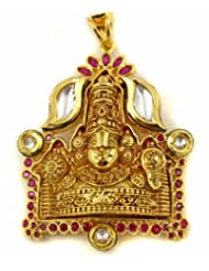 Scrunchh Kundan And Faux Rubies Balaji Pendant For Women, 2.3""
