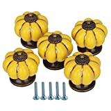 Ceramic Door Cabinets Cupboard Yellow Pumpkins Knobs Handles Pull Drawer Pack Of 5