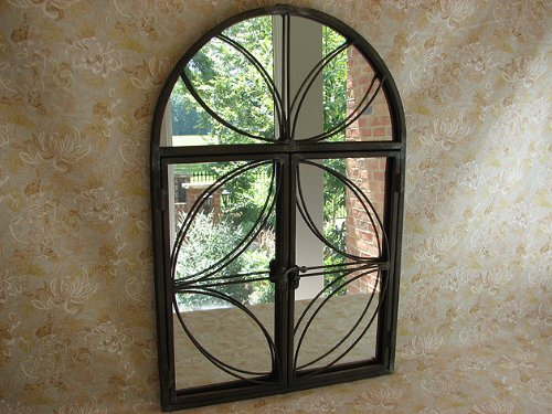 Shabby Cottage Chic Metal Mirror with Opening Doors