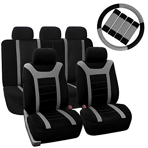 FH GROUP FH-FB070115+FH2033 Sports Fabric Car Seat Covers, Airbag compatible and Split Bench with Steering Wheel Cover, Seat Belt Pads Gray- Fit Most Car, Truck, Suv, or Van (Cover Seats For Cars Subaru compare prices)