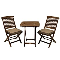 Eucalyptus 3 Piece Square Bistro Outdoor Furniture Set With Cushions