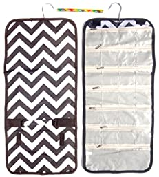 Large Black & White Chevron Hanging Jewelry Hanger Travel Bag Roll Organizer Travelers by TravelNut® Dorm Essentials Gift Idea Her Girls Roommate Girlfriend BFF Best Back to School College Supplies