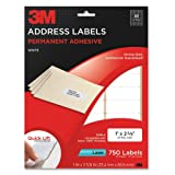 3M Permanent Adhesive Address Labels, 1 x 2.62 Inches, White, Laser, 750 per pack (3100-A) ~ 3M