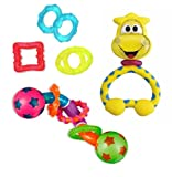 Teethers & Rattle 3 Pack (Giraffe Fun Teething Rattle, Twisty Barbell Teether Toy & Chill & Teethe teethers)