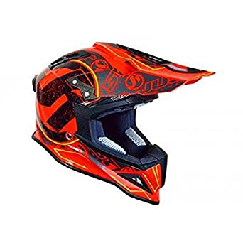 JU001232 - Casque Just1 J12 Stamp Carbon Rouge Fluo Xs
