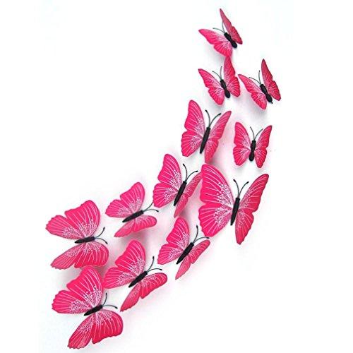 3D Butterfly Wall Sticker, Hatop 12x 3D Butterfly Wall Sticker Fridge Magnet Room Decor Decal Applique (Hot Pink)