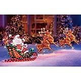 Lighted Holographic Santa Sleigh and Deer Christmas Decoration