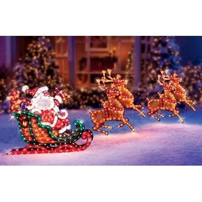 lighted holographic santa sleigh and deer christmas decoration - Holographic Christmas Decorations