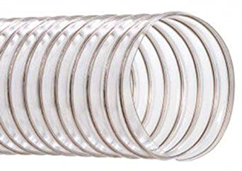 """Hi-Tech Duravent Lightweight Series Thermoplastic Polyurethane Duct Hose, Wire Reinforced, Clear, 8"""" ID, 8.3500"""" OD, 25' Length"""