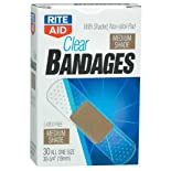 Rite Aid Bandages, Latex Free, Clear, Medium Shade, All One Size, 30 ea