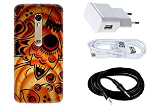 Spygen MOTOROLA Moto X Style Case Combo of Premium Quality Designer Printed 3D Lightweight Slim Matte Finish Hard Case Back Cover + Charger Adapter + High Speed Data Cable + Premium Quality Aux