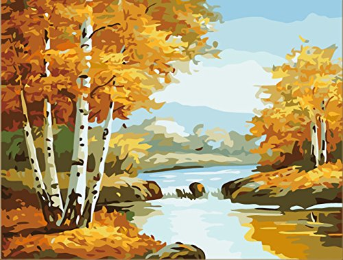 Greek Art Paintworks Paint Color By Number,Golden Autumn Scenery,16-Inch by 20-Inch