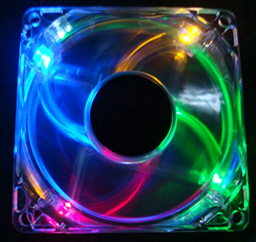Autolizer Sleeve Bearing 80mm Silent Cooling Fan for Computer PC Cases - High Airflow, Quite, and Transparent Clear (Multi-Color RGB Quad 4-LEDs) - 2 Years Warranty (Computer Case Cooling Fan compare prices)